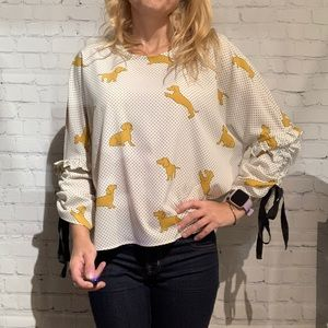 Zara Women Blouse with Gathered Sleeves Size Small